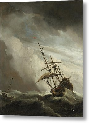 A Ship On The High Seas Caught By A Squall Metal Print by Willem van de Velde the Younger