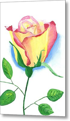 Metal Print featuring the painting A Single Rose by Rodney Campbell