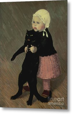 A Small Girl With A Cat Metal Print by TA Steinlen