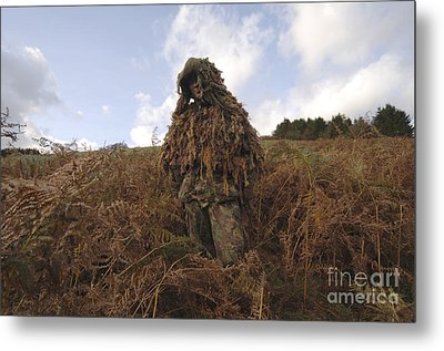 A Sniper Dressed In A Ghillie Suit Metal Print by Andrew Chittock