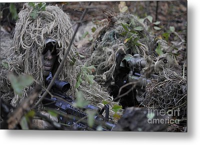 A Sniper Team Spotter And Shooter Metal Print by Stocktrek Images