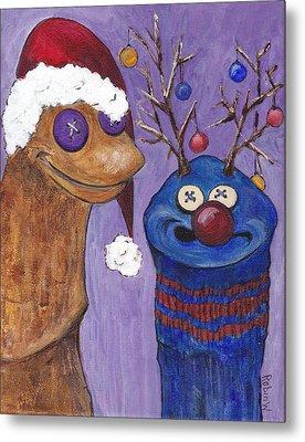 A Sock Puppet Christmas Metal Print by Robin Wiesneth