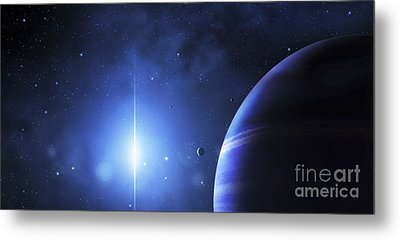 A Star Provides A Cool Glow On A Nearby Metal Print by Justin Kelly