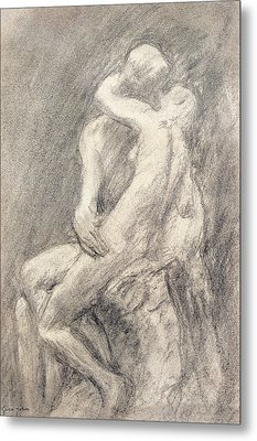 A Study Of Rodin's Kiss In His Studio Metal Print by Gwen John