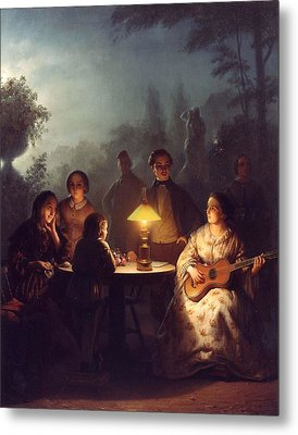 A Summer Evening By Lamp Metal Print by Petrus van