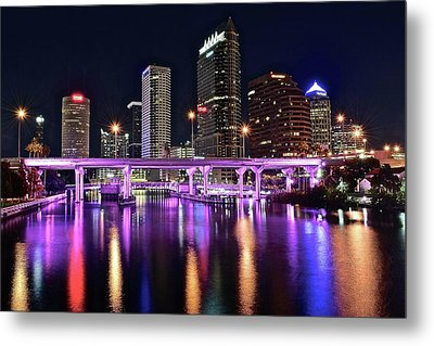 A Tampa Night Metal Print by Frozen in Time Fine Art Photography