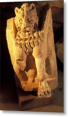 A Temple Winged Lion In The Petra Metal Print by Richard Nowitz