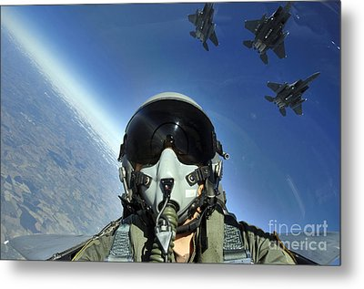 A Three-ship Formation Of F-15e Strike Metal Print by Stocktrek Images