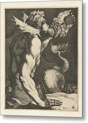A Triton Blowing A Conch Metal Print by Celestial Images