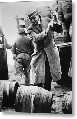 A Us Federal Agent Broaching A Beer Barrel From An Illegal Cargo During The American Prohibition Era Metal Print by American School