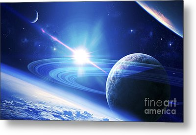 A View Of A Planet As It Looms In Close Metal Print by Kevin Lafin