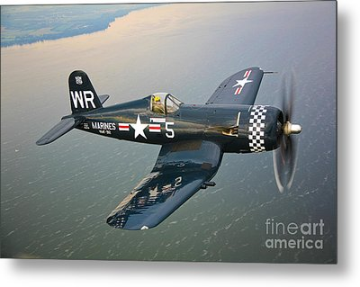 A Vought F4u-5 Corsair In Flight Metal Print by Scott Germain