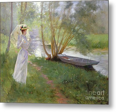 A Walk By The River Metal Print by Pierre Andre Brouillet
