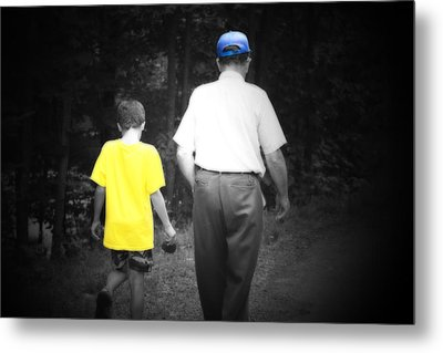 A Walk With Grandpa Metal Print by Cathy  Beharriell