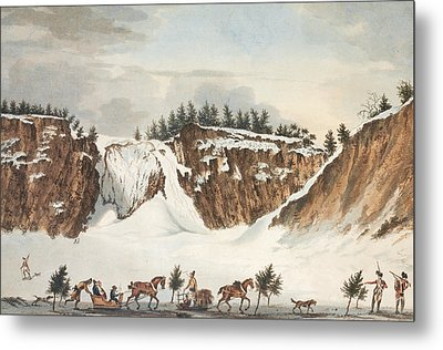 A Winter View Of The Falls Of Montmorenci Metal Print by John Wells