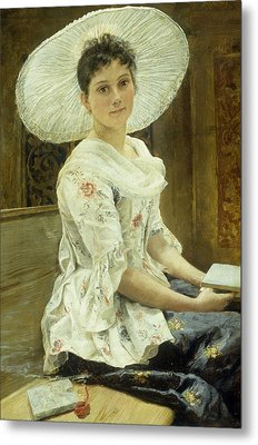 A Young Beauty In A White Hat  Metal Print by Franz Xaver Simm