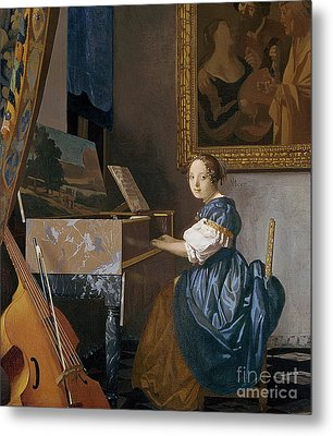 A Young Lady Seated At A Virginal Metal Print by Jan Vermeer