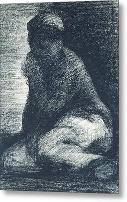 A Young Man Crouching Metal Print by Georges Pierre Seurat