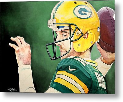 Aaron Rodgers - Green Bay Packers Metal Print by Michael  Pattison