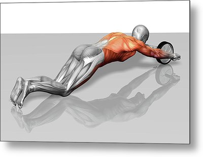 Ab Wheel Exercise Metal Print by MedicalRF.com