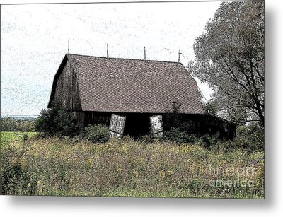 Abandoned Barn In Wny Ink Sketch Effect Metal Print by Rose Santuci-Sofranko