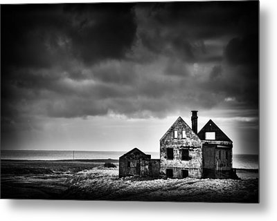Abandoned House In Iceland Black And White Metal Print by Matthias Hauser
