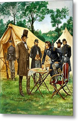 Abraham Lincoln Plans His Campaign During The American Civil War  Metal Print by Peter Jackson
