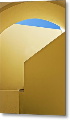 Abstract Architecture In Yellow Metal Print by Meirion Matthias