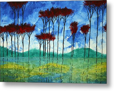 Abstract Art Original Landscape Painting Reflective Beauty By Madart Metal Print by Megan Duncanson