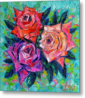 Abstract Bouquet Of Roses Metal Print by Mona Edulesco