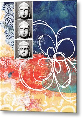 Abstract Buddha Metal Print by Linda Woods