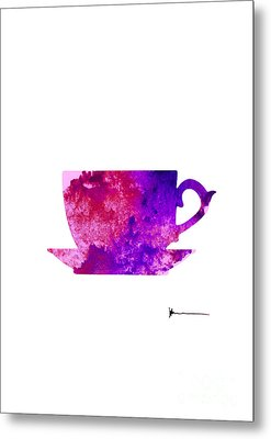 Abstract Cup Of Tea Silhouette Metal Print by Joanna Szmerdt