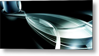 Abstract Curved Lines, Leaf Shape Metal Print by Ralf Hiemisch