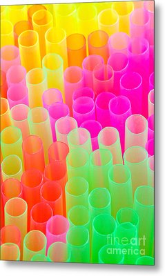 Abstract Drinking Straws Metal Print by Meirion Matthias