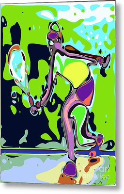 Abstract Female Tennis Player 2 Metal Print by Chris Butler