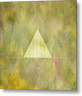 Abstract Green And Gold Triangles Metal Print by Brandi Fitzgerald