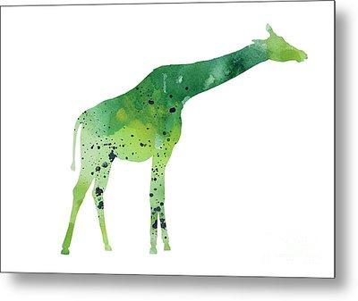 Abstract Green Giraffe Minimalist Painting Metal Print by Joanna Szmerdt