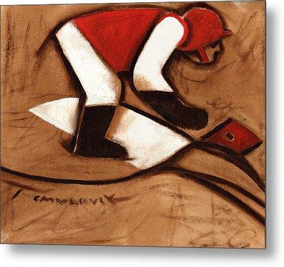 Abstract Horse Racing Jockey Art Print Metal Print by Tommervik