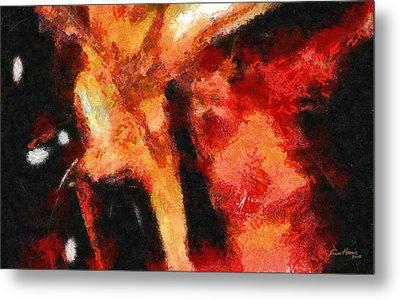Abstract Orange Red Metal Print by Russ Harris