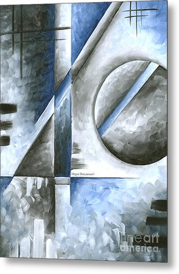 Abstract Original Art Contemporary Blue And Gray Painting By Megan Duncanson Blue Destiny I Madart Metal Print by Megan Duncanson