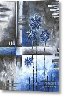 Abstract Original Art Contemporary Blue And Gray Painting By Megan Duncanson Blue Destiny Iv Madart Metal Print by Megan Duncanson