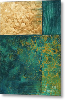 Abstract Original Painting Contemporary Metallic Gold And Teal By Madart Metal Print by Megan Duncanson