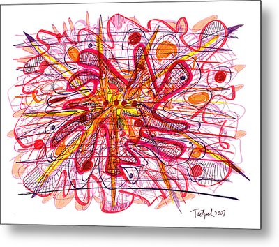 Abstract Pen Drawing Fifteen Metal Print by Lynne Taetzsch
