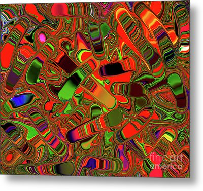 Abstract Rainbow Slider Explosion Metal Print by Andee Design