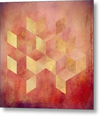 Abstract Red And Gold Geometric Cubes Metal Print by Brandi Fitzgerald
