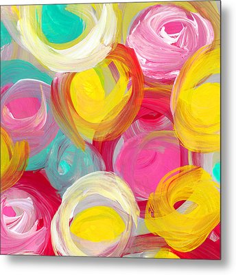 Abstract Rose Garden In The Morning Light Square 1 Metal Print by Amy Vangsgard