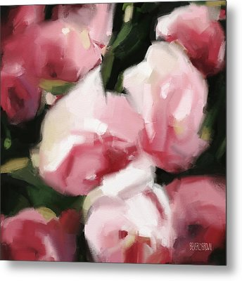 Abstract Roses Dark And Light Pink Metal Print by Beverly Brown Prints