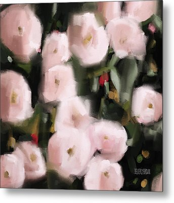 Abstract Roses Peach And Light Pink Metal Print by Beverly Brown Prints