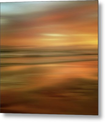 Abstract Sunset Illusions - Gold Metal Print by Joann Vitali