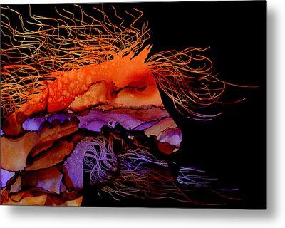 Abstract Wild Horse - Vibrant Purple And Orange Metal Print by Michelle Wrighton